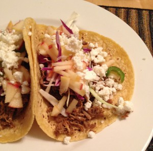 Tacos with apple salsa