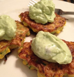 Squash and corn fritters