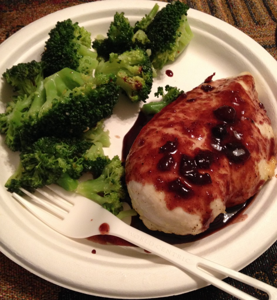 Chicken with cranberry sauce, zesty broccoli