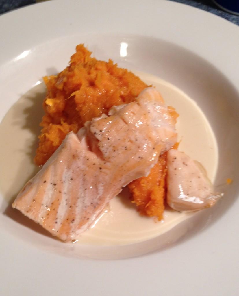 Salmon, sweet potato, and sauce